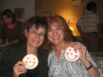 Karen and Suzanne Froehlich enjoying Smiley Cookies donated by Eat'nPark